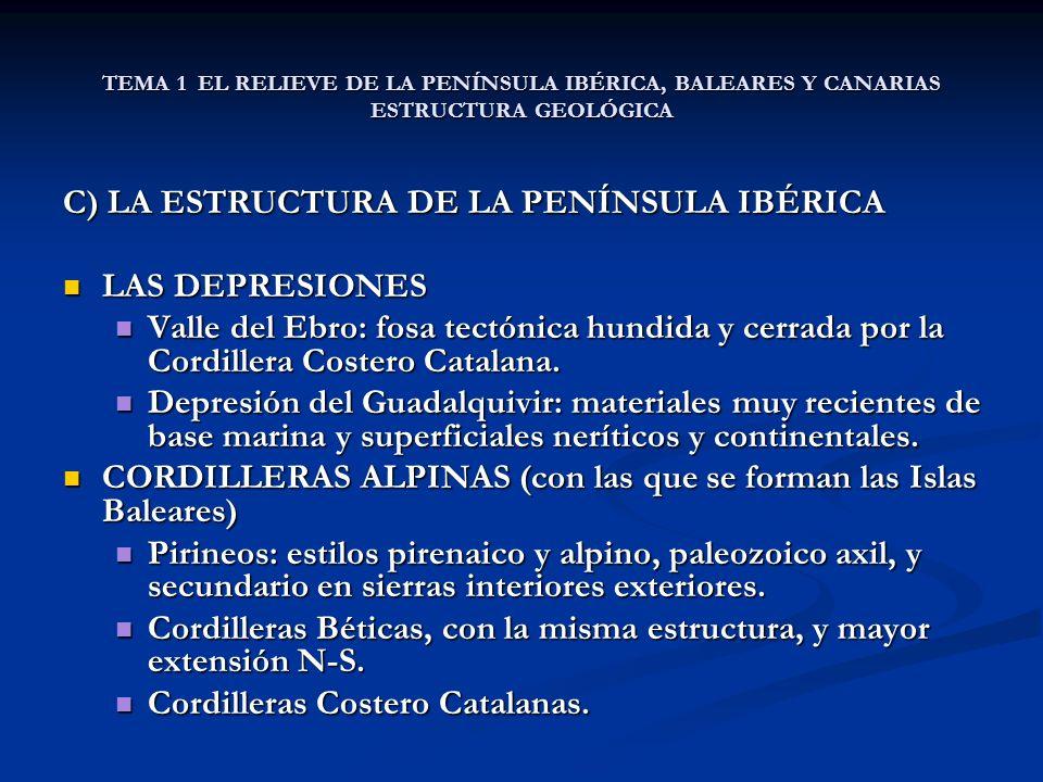 TEMA 1 EL RELIEVE DE LA PENÍNSULA IBÉRICA, BALEARES Y CANARIAS ESTRUCTURA GEOLÓGICA C) LA ESTRUCTURA DE LA PENÍNSULA IBÉRICA LAS DEPRESIONES LAS DEPRESIONES Valle del Ebro: fosa tectónica hundida y cerrada por la Cordillera Costero Catalana.