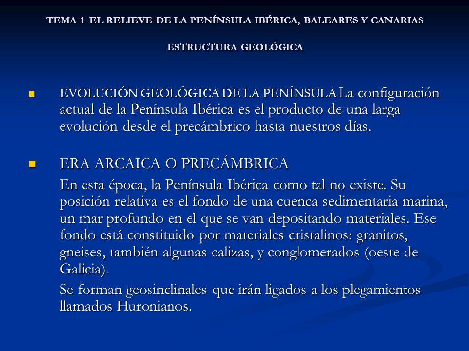 TEMA 1 EL RELIEVE DE LA PENÍNSULA IBÉRICA, BALEARES Y CANARIAS ESTRUCTURA GEOLÓGICA EVOLUCIÓN GEOLÓGICA DE LA PENÍNSULA La configuración actual de la Península Ibérica es el producto de una larga evolución desde el precámbrico hasta nuestros días.