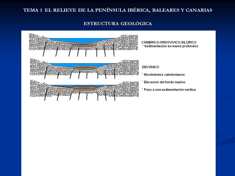 TEMA 1 EL RELIEVE DE LA PENÍNSULA IBÉRICA, BALEARES Y CANARIAS ESTRUCTURA GEOLÓGICA C) LA ESTRUCTURA DE LA PENÍNSULA IBÉRICA La Península Ibérica tiene una estructura general en la que se distinguen: La Península Ibérica tiene una estructura general en la que se distinguen: un núcleo paleozoico (granitos, cuarcitas, etc.) un núcleo paleozoico (granitos, cuarcitas, etc.) Una serie de rebordes montañosos del núcleo Una serie de rebordes montañosos del núcleo Las prefosas y las cordilleras alpinas Las prefosas y las cordilleras alpinas Los efectos de la fase estírica, de los movimientos alpinos, ocasionan las siguientes unidades estructurales: Los efectos de la fase estírica, de los movimientos alpinos, ocasionan las siguientes unidades estructurales: