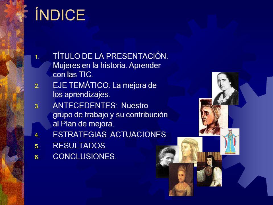 ÍNDICE 1. TÍTULO DE LA PRESENTACIÓN: Mujeres en la historia.