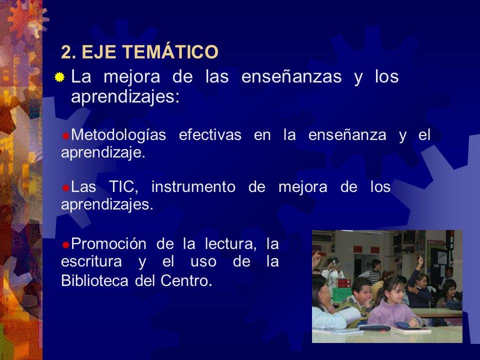 2. EJE TEMÁTICO La mejora de las enseñanzas y los aprendizajes: Metodologías efectivas en la enseñanza y el aprendizaje. Las TIC, instrumento de mejor