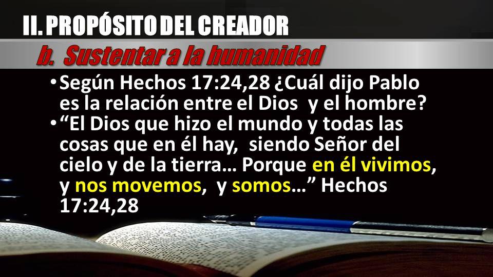 Según Hechos 17:24,28 ¿Cuál dijo Pablo es la relación entre el Dios y el hombre? El Dios que hizo el mundo y todas las cosas que en él hay, siendo Señ