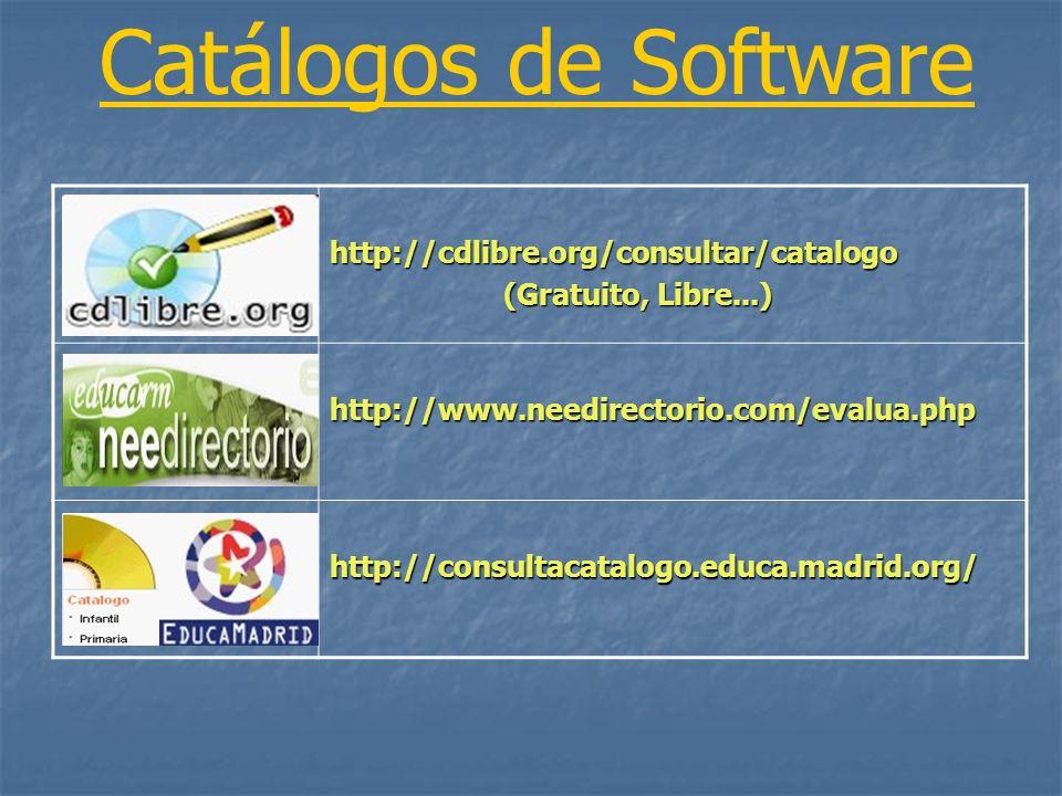 http://cdlibre.org/consultar/catalogo (Gratuito, Libre...) (Gratuito, Libre...) http://www.needirectorio.com/evalua.php http://consultacatalogo.educa.