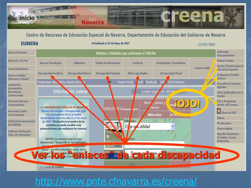 http://www.pnte.cfnavarra.es/creena/ Ver los enlaces de cada discapacidad ¡OJO!