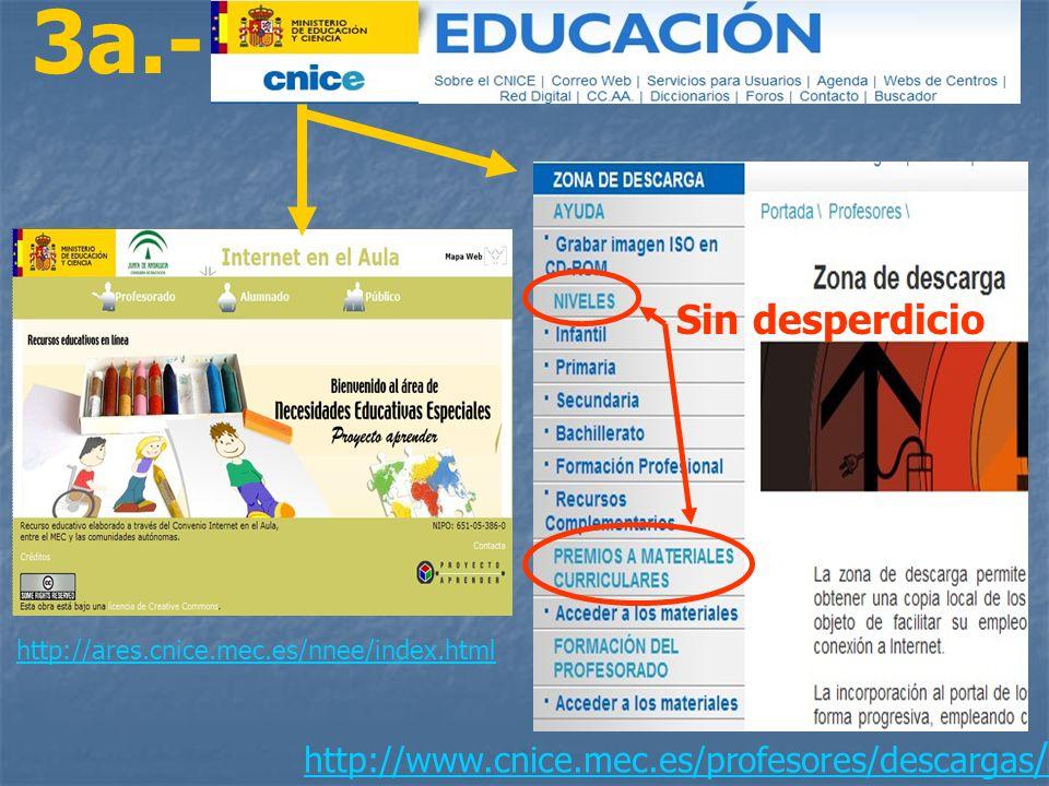 http://ares.cnice.mec.es/nnee/index.html http://www.cnice.mec.es/profesores/descargas / 3a.- Sin desperdicio