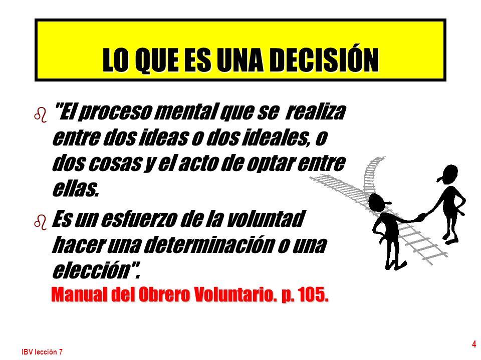 IBV lección 7 15 ELEMENTOS POSITIVOS PARA TOMAR UNA DECISIÓN 2.