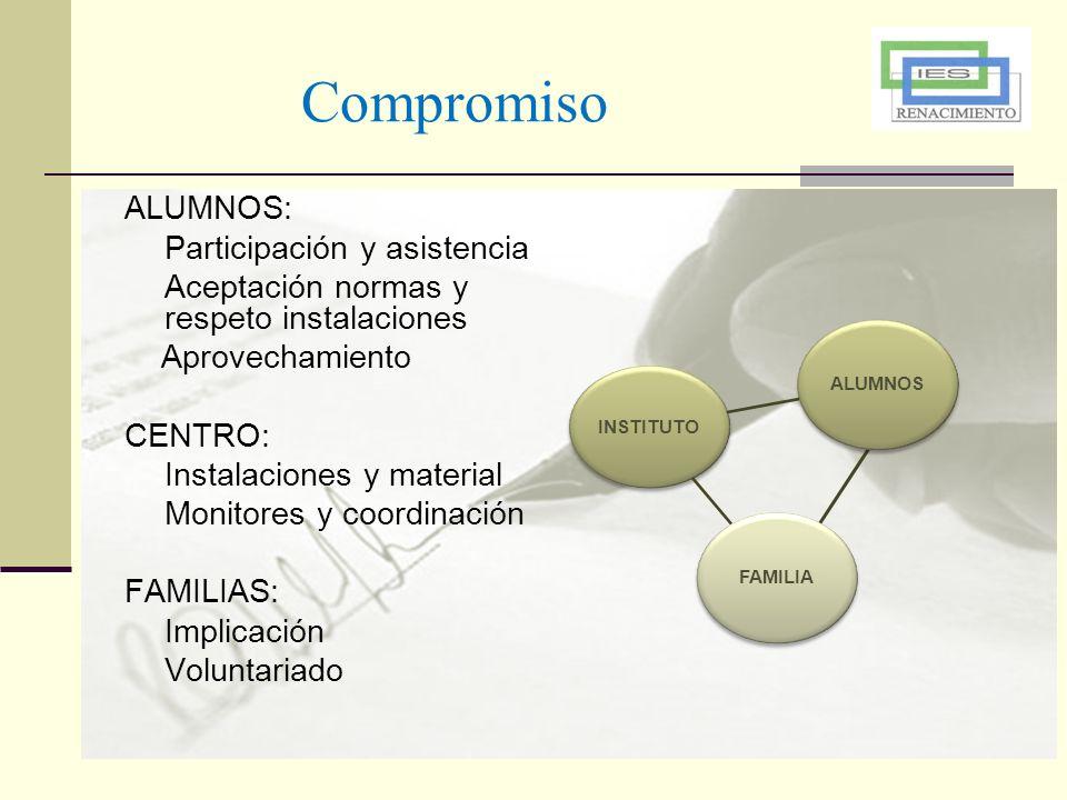 Compromiso ALUMNOS: Participación y asistencia Aceptación normas y respeto instalaciones Aprovechamiento CENTRO: Instalaciones y material Monitores y