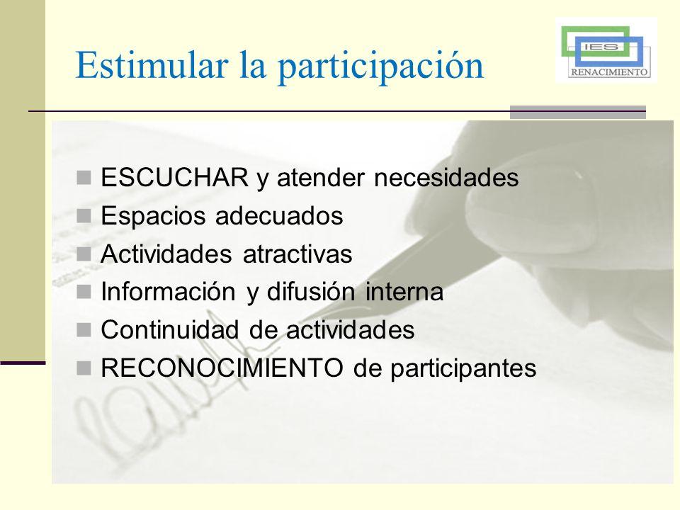 Estimular la participación ESCUCHAR y atender necesidades Espacios adecuados Actividades atractivas Información y difusión interna Continuidad de acti