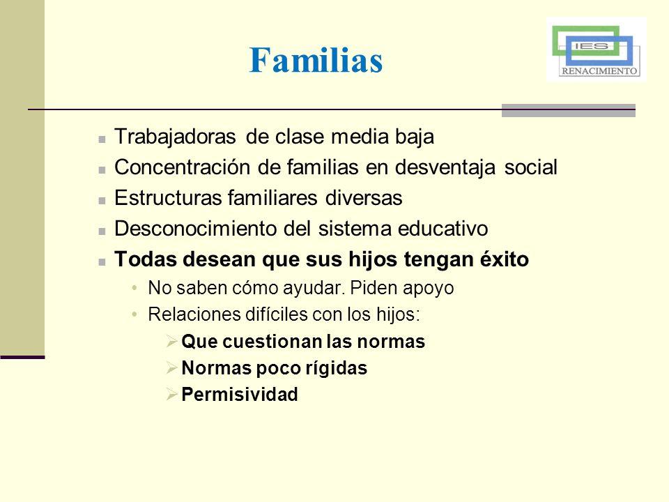 Trabajadoras de clase media baja Concentración de familias en desventaja social Estructuras familiares diversas Desconocimiento del sistema educativo