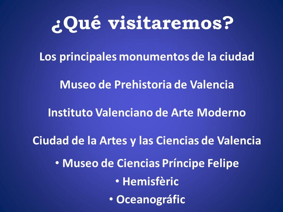 ¿Qué visitaremos? Los principales monumentos de la ciudad Museo de Prehistoria de Valencia Instituto Valenciano de Arte Moderno Ciudad de la Artes y l