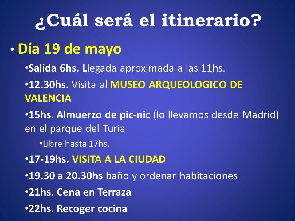 ¿Cuál será el itinerario? Día 19 de mayo Salida 6hs. Llegada aproximada a las 11hs. 12.30hs. Visita al MUSEO ARQUEOLOGICO DE VALENCIA 15hs. Almuerzo d