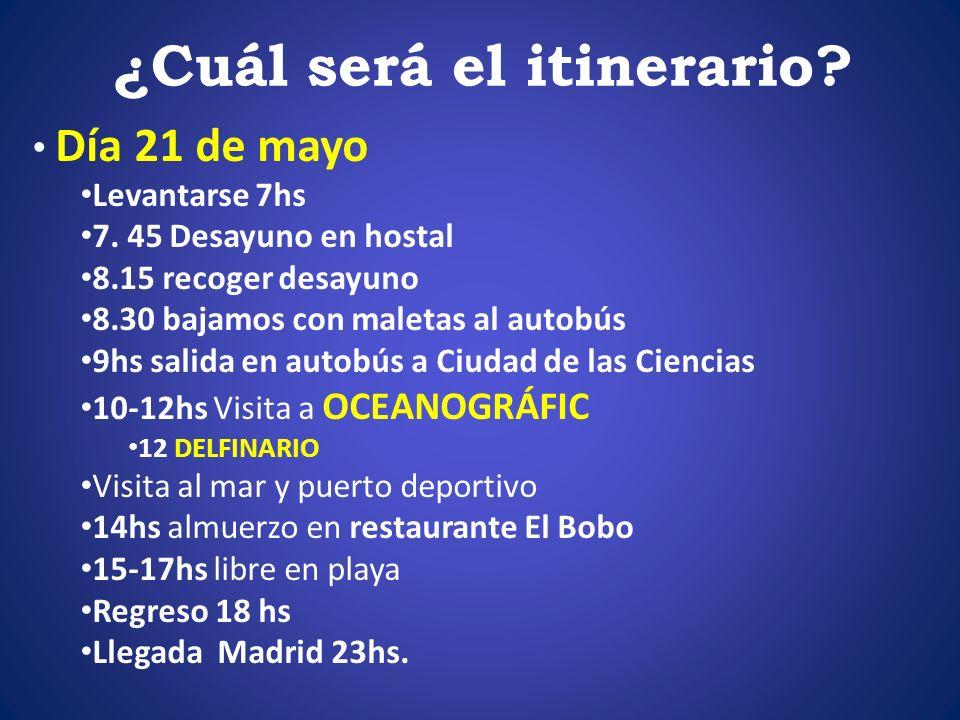 ¿Cuál será el itinerario? Día 21 de mayo Levantarse 7hs 7. 45 Desayuno en hostal 8.15 recoger desayuno 8.30 bajamos con maletas al autobús 9hs salida