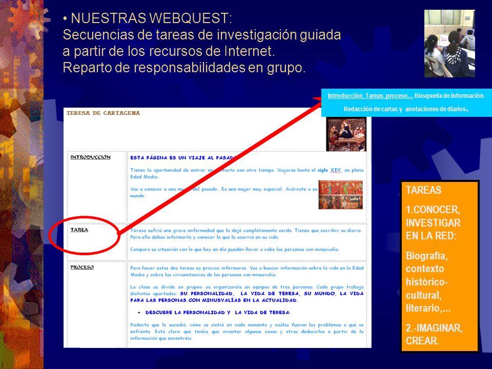 NUESTRAS WEBQUEST: Secuencias de tareas de investigación guiada a partir de los recursos de Internet.