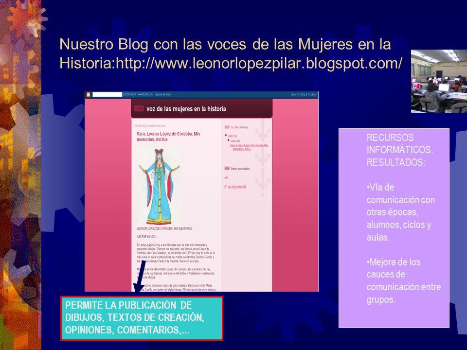 Nuestro Blog con las voces de las Mujeres en la Historia:http://www.leonorlopezpilar.blogspot.com/ RECURSOS INFORMÁTICOS.