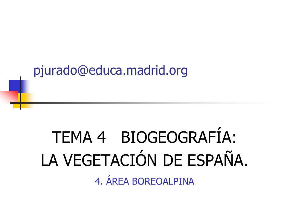 TEMA 4 BIOGEOGRAFÍA: LA VEGETACIÓN DE ESPAÑA. 4. ÁREA BOREOALPINA pjurado@educa.madrid.org