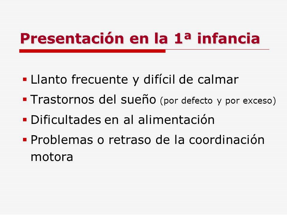 Presentación en la 1ª infancia Llanto frecuente y difícil de calmar Trastornos del sueño (por defecto y por exceso) Dificultades en al alimentación Pr