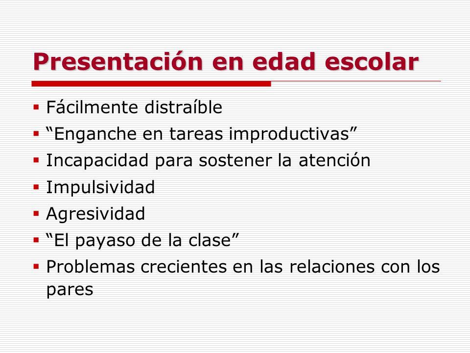 Presentación en edad escolar Fácilmente distraíble Enganche en tareas improductivas Incapacidad para sostener la atención Impulsividad Agresividad El