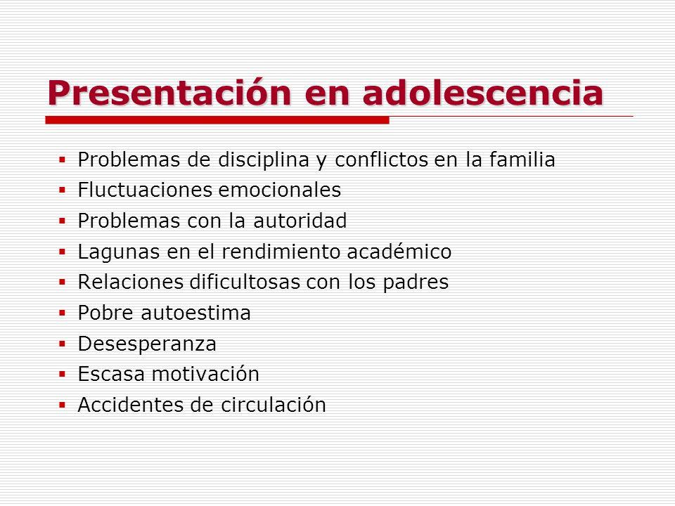 Presentación en adolescencia Problemas de disciplina y conflictos en la familia Fluctuaciones emocionales Problemas con la autoridad Lagunas en el ren