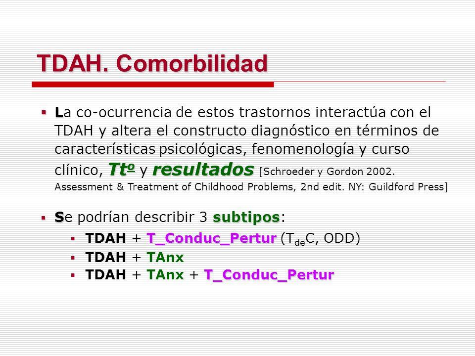 L Tt o resultados La co-ocurrencia de estos trastornos interactúa con el TDAH y altera el constructo diagnóstico en términos de características psicol