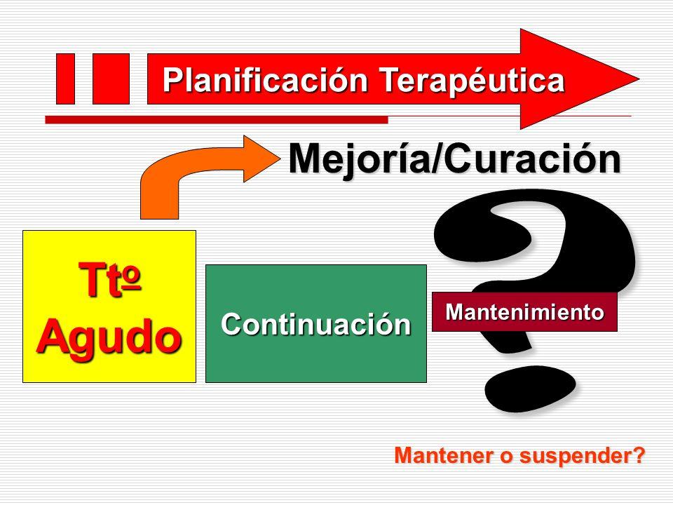 Planificación Terapéutica ? Tt o Agudo Continuación MantenimientoMejoría/Curación Mantener o suspender?