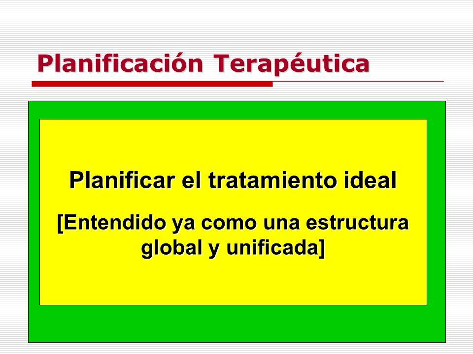 Planificación Terapéutica Planificar el tratamiento ideal [Entendido ya como una estructura global y unificada]