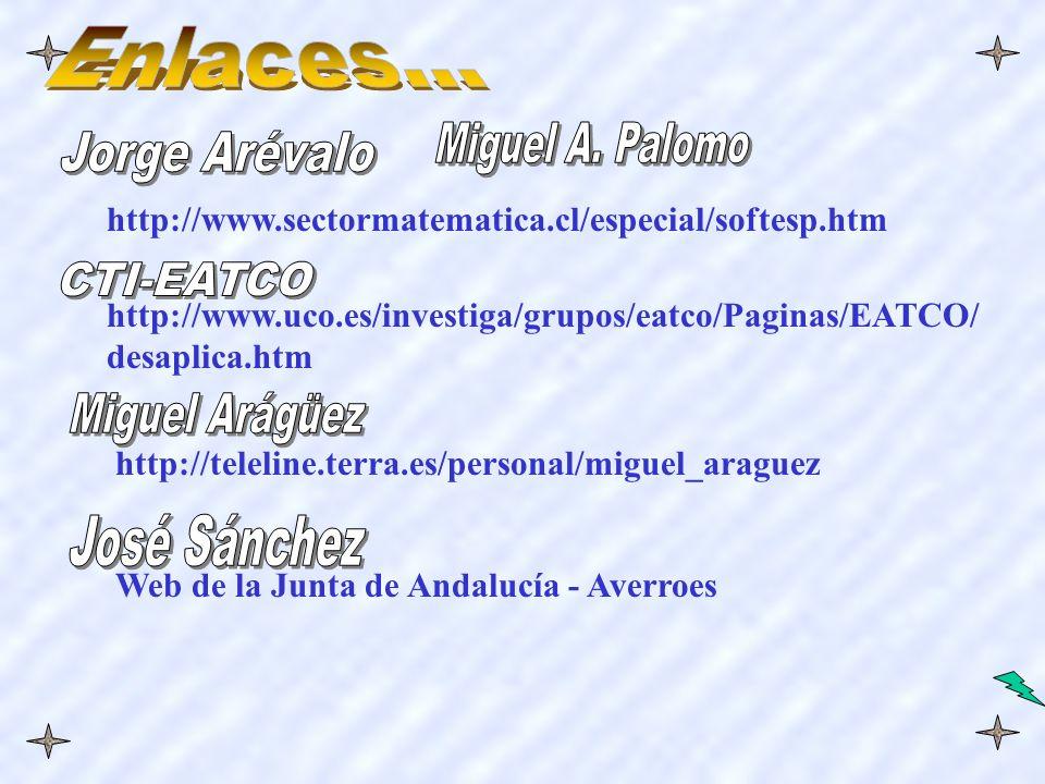 http://www.sectormatematica.cl/especial/softesp.htm http://www.uco.es/investiga/grupos/eatco/Paginas/EATCO/ desaplica.htm http://teleline.terra.es/personal/miguel_araguez Web de la Junta de Andalucía - Averroes