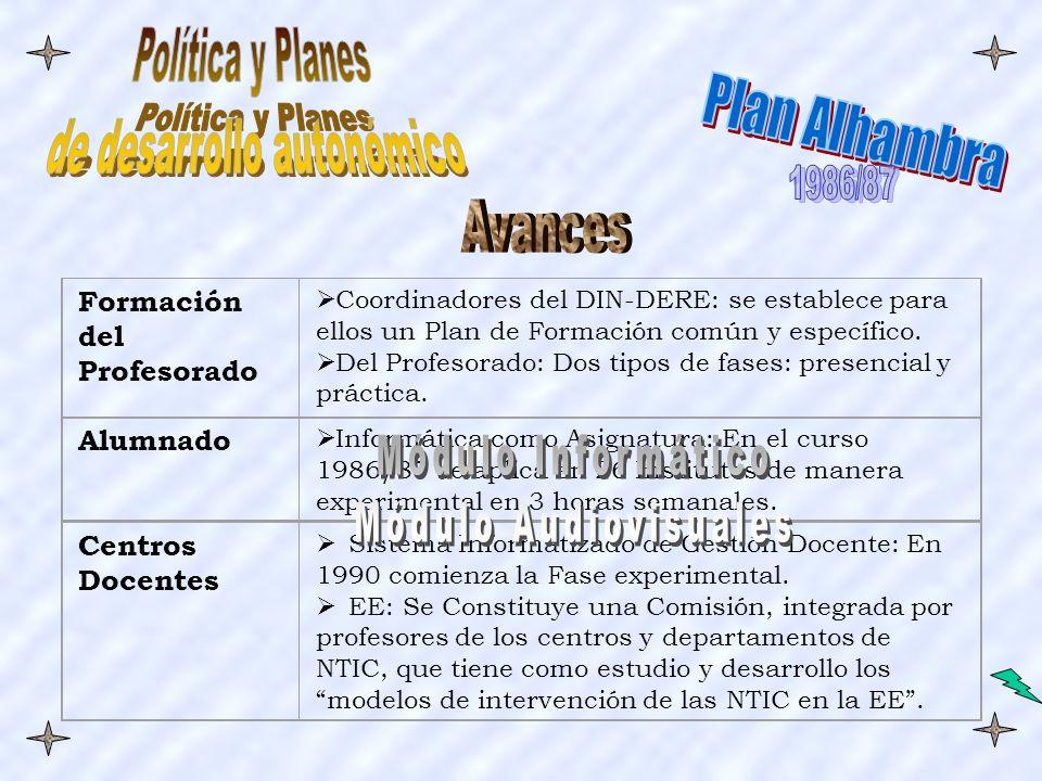 Formación del Profesorado Coordinadores del DIN-DERE: se establece para ellos un Plan de Formación común y específico.
