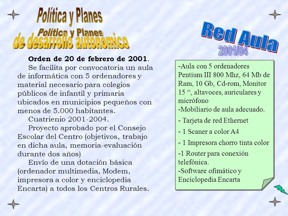 -Aula con 5 ordenadores Pentium III 800 Mhz, 64 Mb de Ram, 10 Gb, Cd-rom, Monitor 15, altavoces, auriculares y micrófono -Mobiliario de aula adecuado.