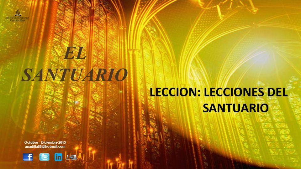 LECCION: LECCIONES DEL SANTUARIO Octubre – Diciembre 2013 apadilla88@hotmail.com EL SANTUARIO