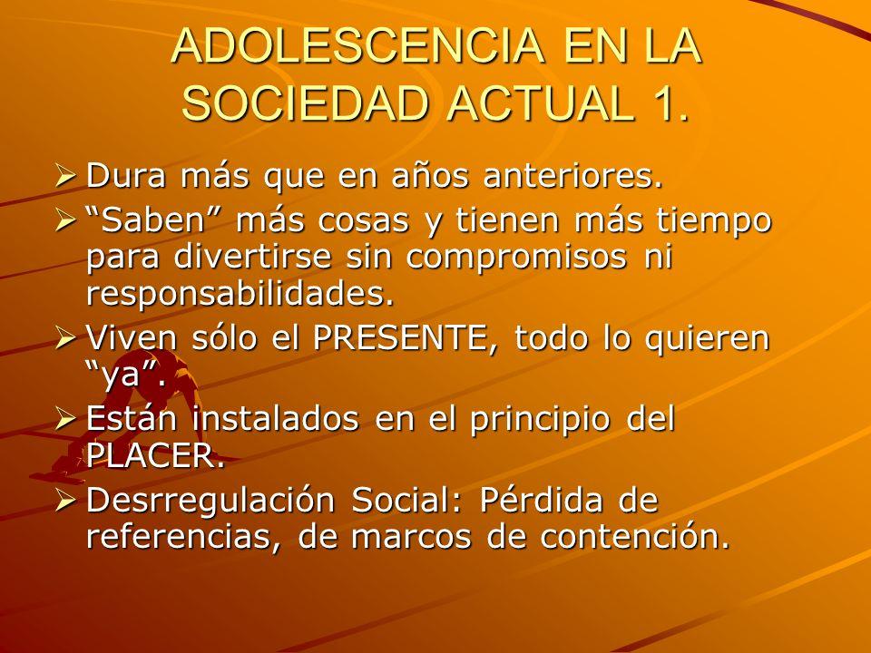 ADOLESCENCIA EN SOCIEDAD ACTUAL.2 Las familias son cada vez más inestables, más frágiles.