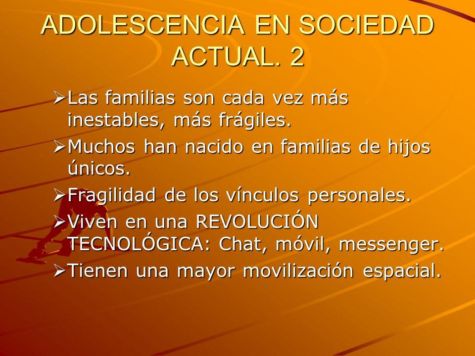 ADOLESCENCIA EN LA SOCIEDAD ACTUAL 3.Cambio en el concepto de SER JOVEN.