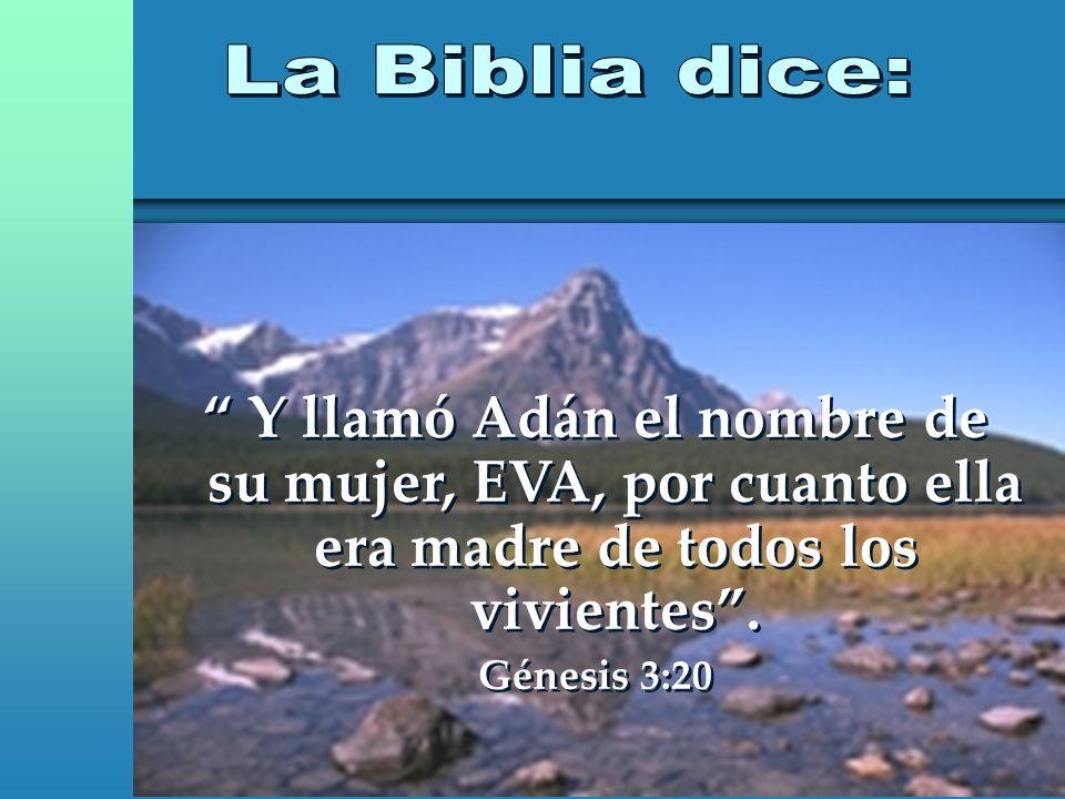 Y llamó Adán el nombre de su mujer, EVA, por cuanto ella era madre de todos los vivientes. Génesis 3:20 Y llamó Adán el nombre de su mujer, EVA, por c