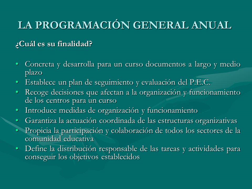 LA PROGRAMACIÓN GENERAL ANUAL ¿Cuál es su finalidad? Concreta y desarrolla para un curso documentos a largo y medio plazoConcreta y desarrolla para un