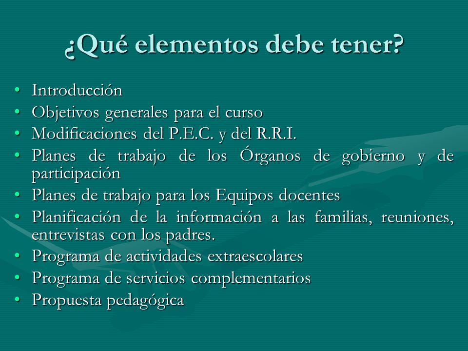 ¿Qué elementos debe tener? IntroducciónIntroducción Objetivos generales para el cursoObjetivos generales para el curso Modificaciones del P.E.C. y del