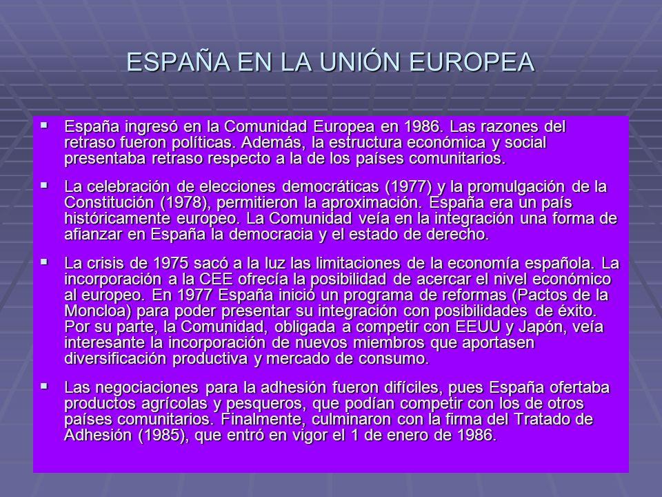 ESPAÑA EN LA UNIÓN EUROPEA España ingresó en la Comunidad Europea en 1986. Las razones del retraso fueron políticas. Además, la estructura económica y