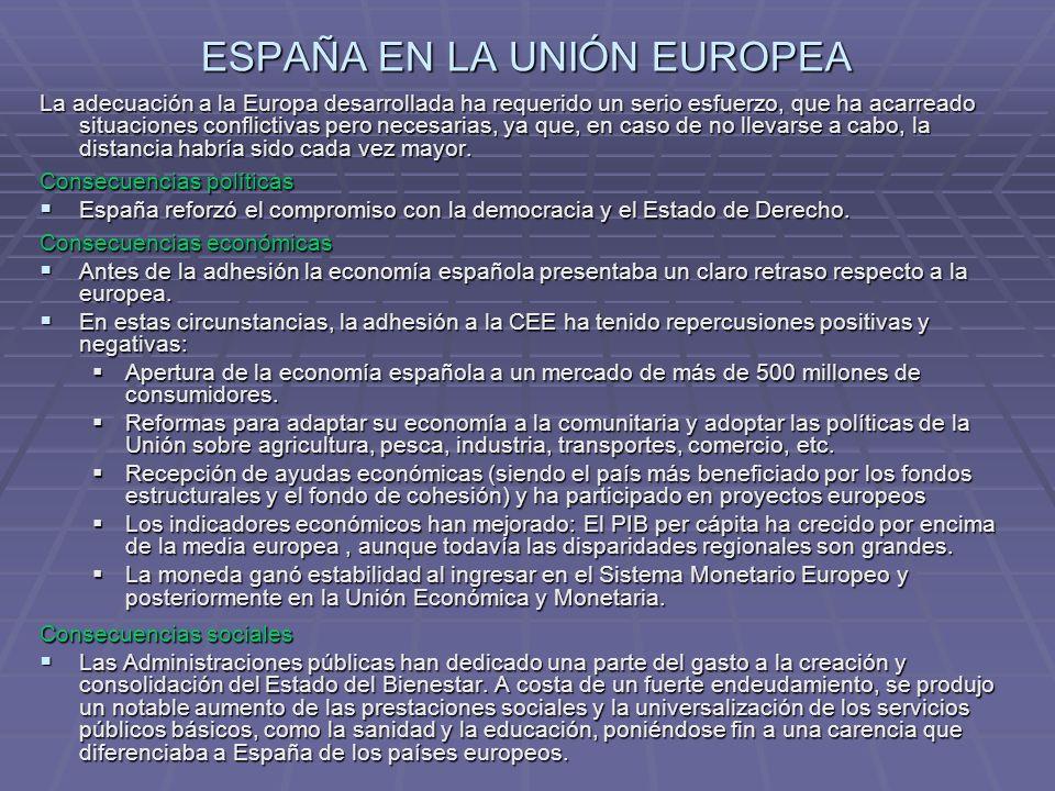 ESPAÑA EN LA UNIÓN EUROPEA La situación actual de España en la UE viene dada por estos rasgos: - España por superficie es el segundo estado comunitario más extenso, después de Francia, y el quinto más poblado, tras Alemania, Reino Unido, Francia e Italia, pero su densidad es baja.