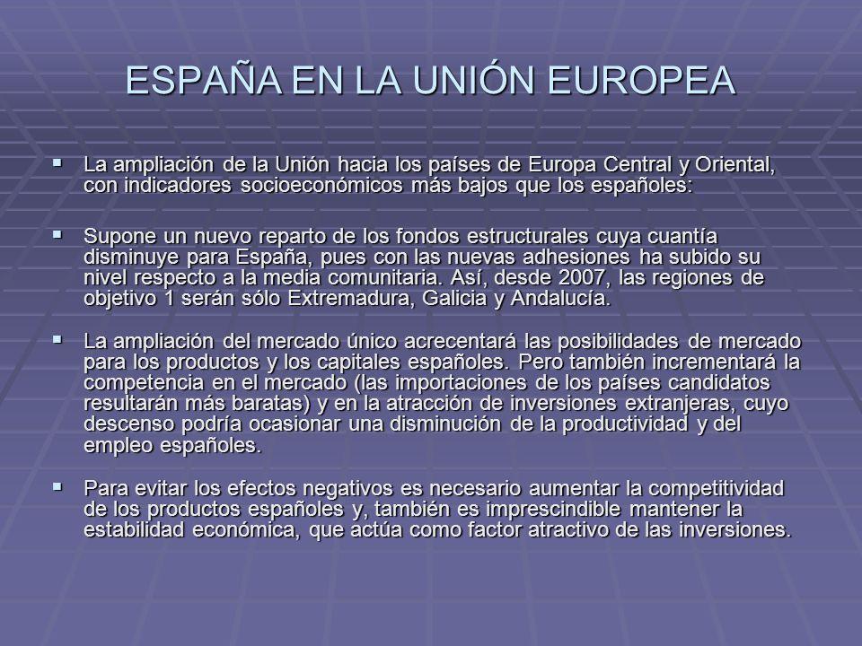 ESPAÑA EN LA UNIÓN EUROPEA La ampliación de la Unión hacia los países de Europa Central y Oriental, con indicadores socioeconómicos más bajos que los
