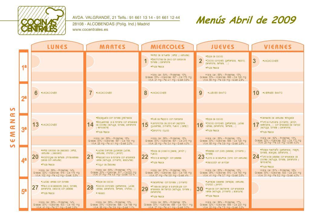 Menús Abril de 2009 678910 JUEVES SANTO 1314 15 16 17 Puré de Repollo con manzana Jamoncitos de pollo en pepitoria (guisantes, pimiento, huevo y perejil) Danonino líquido Potaje madrileño (garbanzos, magro, tomate, acelgas, zanahoria,...) Tortilla de patatas con ensalada de colores (lechuga, tomate, zanahoria y remolacha) Fruta fresca 202122 23 24 Sopa de picadillo (pasta, jamón y huevo) Pollo al estragón con patatas Fruta fresca Judías blancas guisadas (judías, verduras, chorizo y jamón) Pescadilla a la romana con ensalada verde (lechuga, pimiento, aceitunas) Yogur de Sabores Arroz caldoso de pescado ( arroz, verduras y pescado) Albóndigas de ternera primaverales (salsa con verduras) Fruta fresca 123 Sopa de cocido Cocido completo (garbanzos, repollo, zanahoria, ternera, …) Fruta fresca Arroz de la huerta ( arroz y verduras) Salchichas de pavo con salsa de tomate y zanahoria Fruta fresca Patatas con pisto (patatas, pimiento y tomate) Lomo a la baturrica (lomo con verduras) Melocotón en almíbar Espaguetis con tomate gratinados Boquerones a la romana con ensalada de colores (lechuga, tomate, zanahoria y remolacha) Fruta fresca 2728 Judías verdes con tomate Pavo a la cazadora (pavo, tomate, zanahoria, cebolla) con patatas Fruta fresca Sopa de cocido Cocido completo (garbanzos, judías verdes, zanahoria, ternera, chorizo,…) Helado VIERNES SANTO VACACIONES 2930 Lentejas caseras (lentejas, verduras, chorizo y jamón) Huevos con bechamel con ensalada verde (lechuga, pimiento y aceituna) Fruta fresca Macarrones con tomate y pimiento Filete de panga a la andaluza con ensalada del tiempo (lechuga, tomate y zanahoria) Fruta fresca Sopa de cocido Cocido completo (garbanzos, judías verdes, zanahoria, ternera,….) Fruta fresca Menestra de verduras rehogada Tortilla murciana (pimiento, jamón, berenjena,…) con ensalada del tiempo (lechuga, tomate y zanahoria) Fruta fresca Hidra.