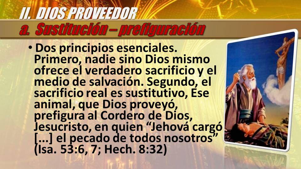Dos principios esenciales. Primero, nadie sino Dios mismo ofrece el verdadero sacrificio y el medio de salvación. Segundo, el sacrificio real es susti