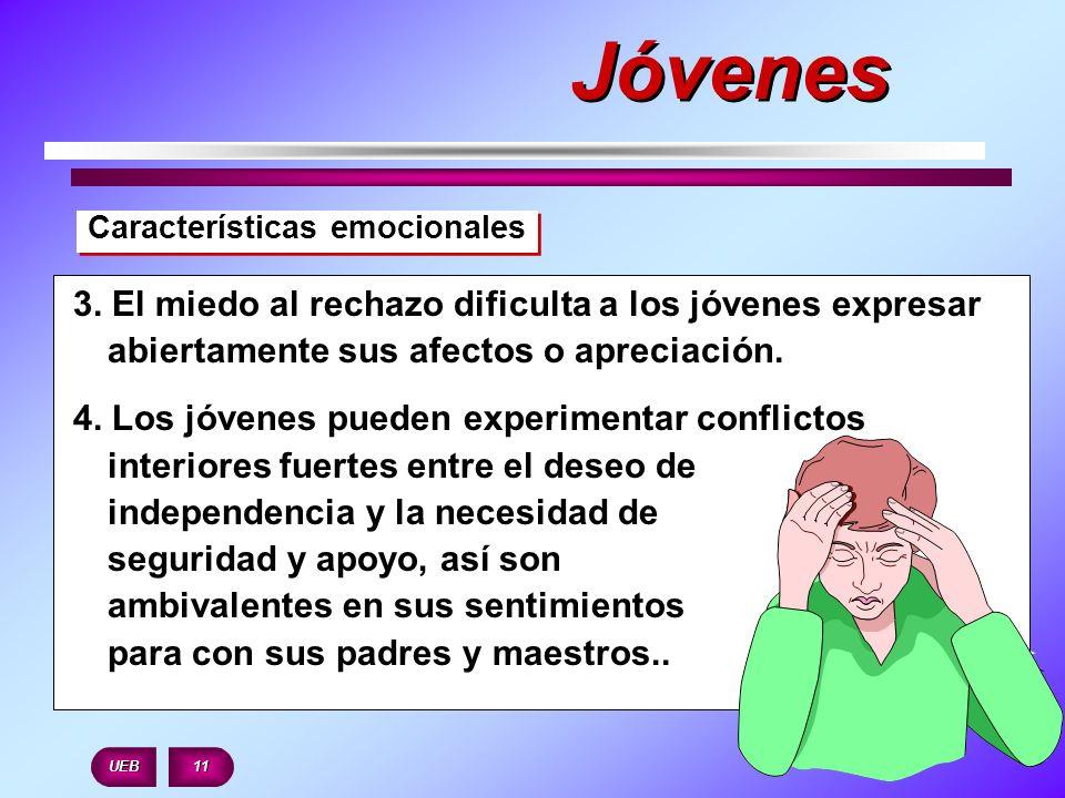 Características emocionales UEB 11 3. El miedo al rechazo dificulta a los jóvenes expresar abiertamente sus afectos o apreciación. 4. Los jóvenes pued