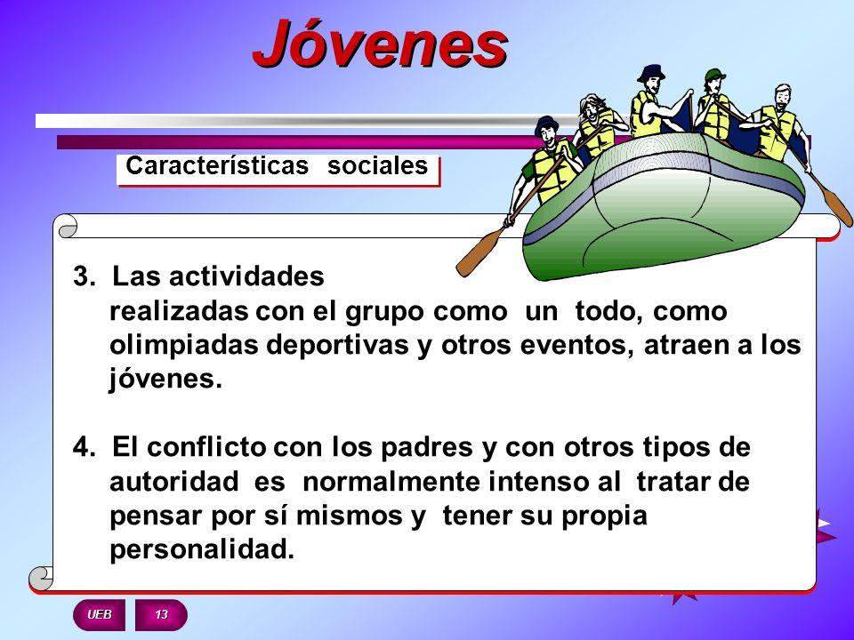 Características sociales 3. Las actividades realizadas con el grupo como un todo, como olimpiadas deportivas y otros eventos, atraen a los jóvenes. 4.