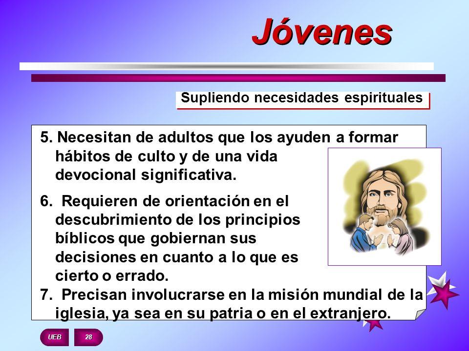 Supliendo necesidades espirituales 5. Necesitan de adultos que los ayuden a formar hábitos de culto y de una vida devocional significativa. 6. Requier