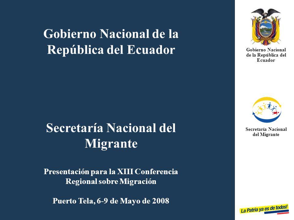 Plan Retorno Voluntario, Digno y Sostenible GOBIERNO NACIONAL DE LA REPÚBLICA DEL ECUADOR SECRETARÍA NACIONAL DEL MIGRANTE Bienvenid@ a Casa PLAN RETORNO de Emigrantes Ecuatorian@s 2008