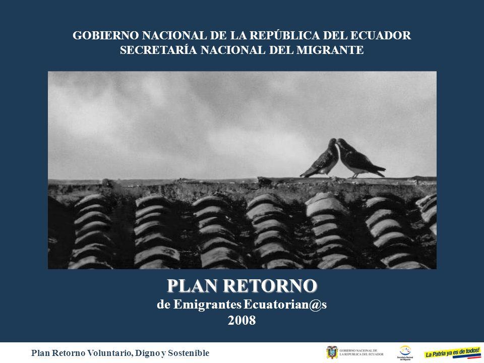 Plan Retorno Voluntario, Digno y Sostenible GOBIERNO NACIONAL DE LA REPÚBLICA DEL ECUADOR SECRETARÍA NACIONAL DEL MIGRANTE Bienvenid@ a Casa PLAN RETO