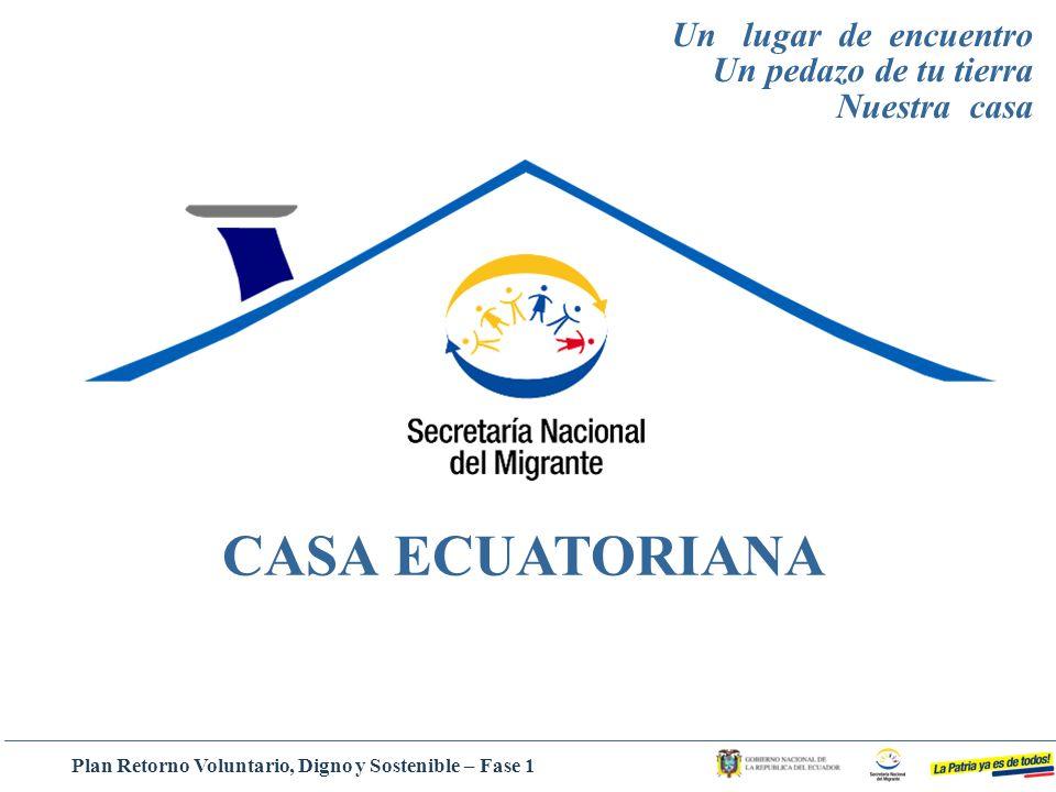 CASA ECUATORIANA Un lugar de encuentro Un pedazo de tu tierra Nuestra casa Plan Retorno Voluntario, Digno y Sostenible – Fase 1