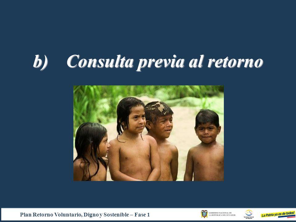 b) Consulta previa al retorno Plan Retorno Voluntario, Digno y Sostenible – Fase 1