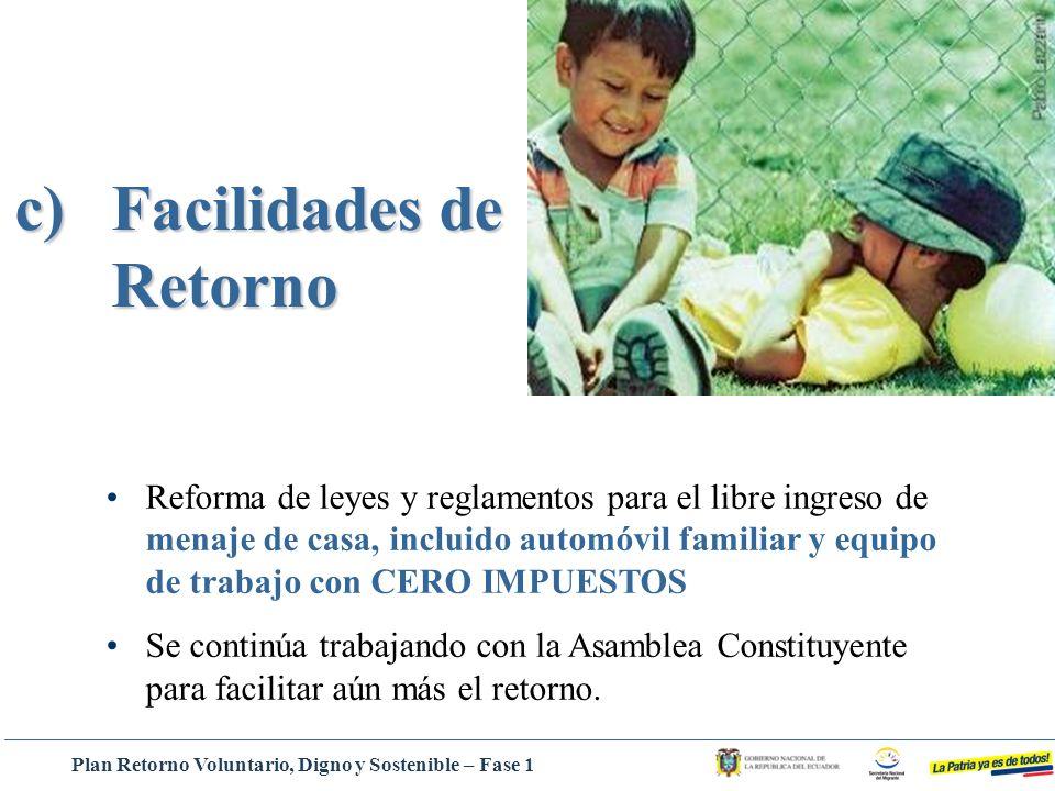 c)Facilidades de Retorno Reforma de leyes y reglamentos para el libre ingreso de menaje de casa, incluido automóvil familiar y equipo de trabajo con C