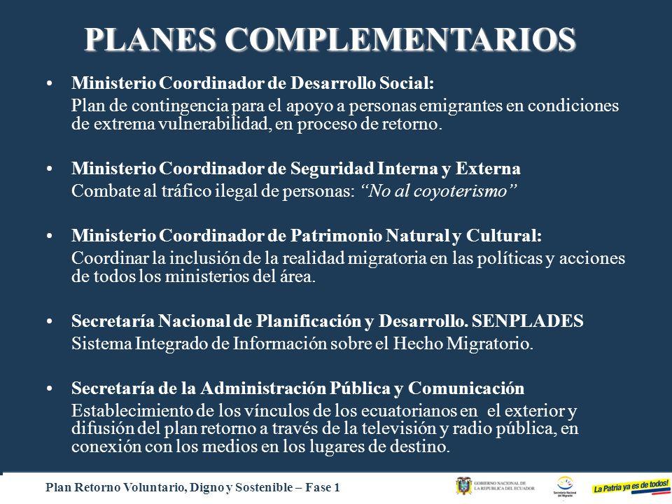 Ministerio Coordinador de Desarrollo Social: Plan de contingencia para el apoyo a personas emigrantes en condiciones de extrema vulnerabilidad, en pro
