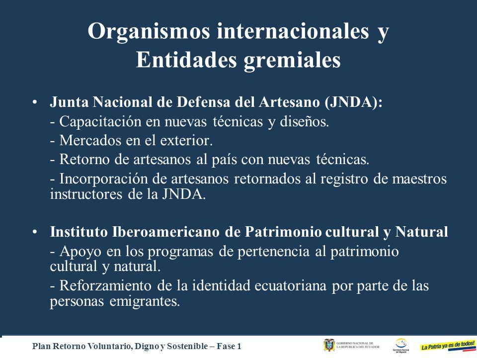 Organismos internacionales y Entidades gremiales Junta Nacional de Defensa del Artesano (JNDA): - Capacitación en nuevas técnicas y diseños. - Mercado