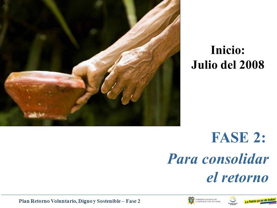FASE 2: Para consolidar el retorno Inicio: Julio del 2008 Plan Retorno Voluntario, Digno y Sostenible – Fase 2